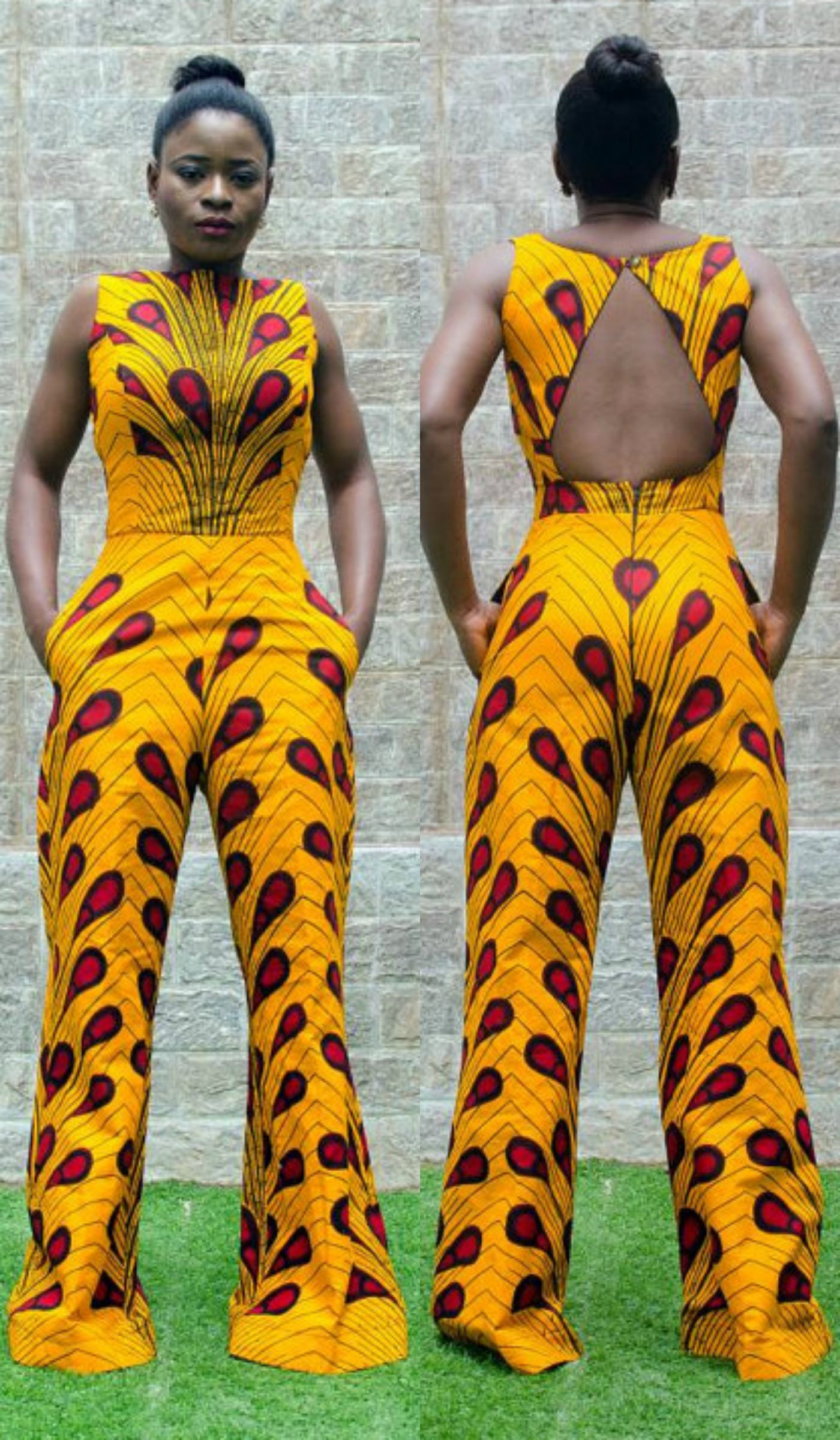 7b58053f7d5f Exclusive Zizibespoke Cutout Wideleg Jumpsuit is made with high quality  cotton African Print Fabric. Ankara