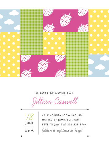 Quilted baby shower invitation by Sarah Curry © 2012