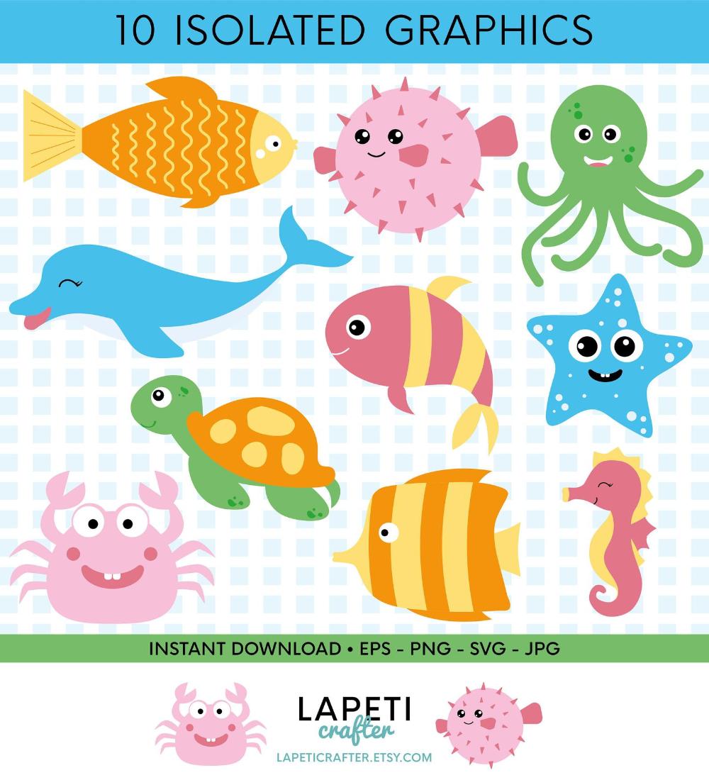 Coleccion De Animales Del Mar Dibujos De Peces Y Animales Etsy Animal Clipart Clip Art Sea Animals