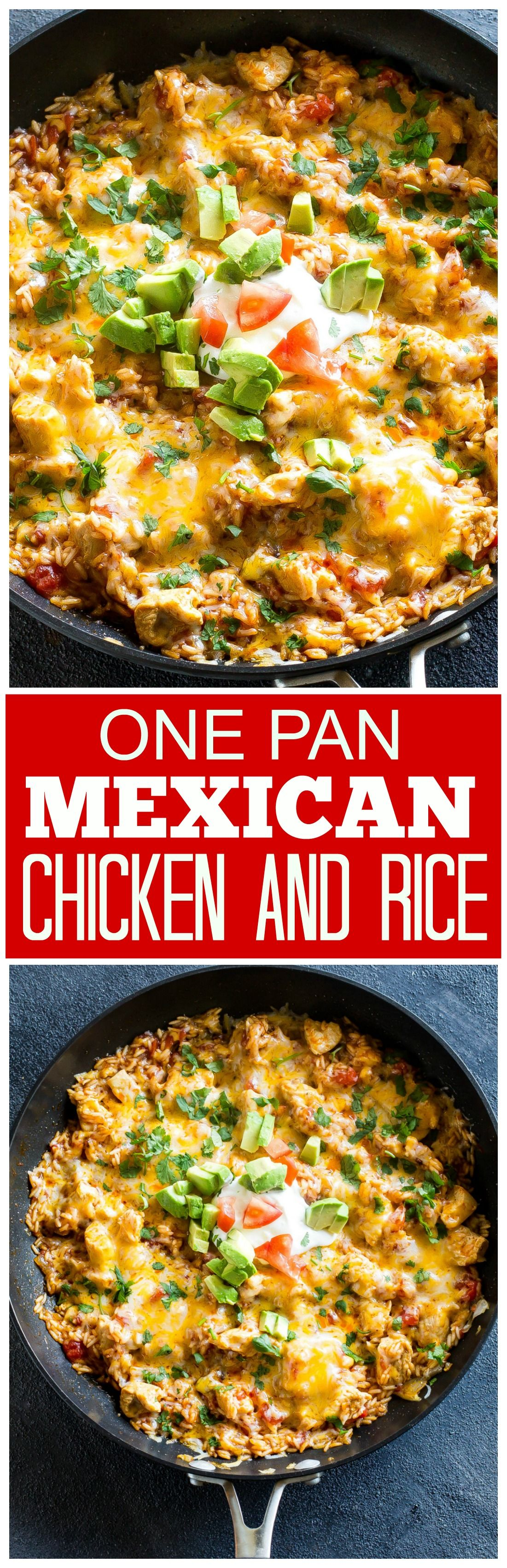 One Pan Mexican Chicken And Rice An Easy Dinner Ready In Under 30 Minutes The Girl Who Ate Everything Mexican Chicken And Rice Mexican Food Recipes Recipes
