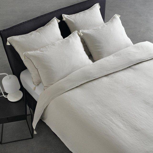 housse de couette en lin lav carly am pm gris calcaire chambre juliette 89 d coration. Black Bedroom Furniture Sets. Home Design Ideas