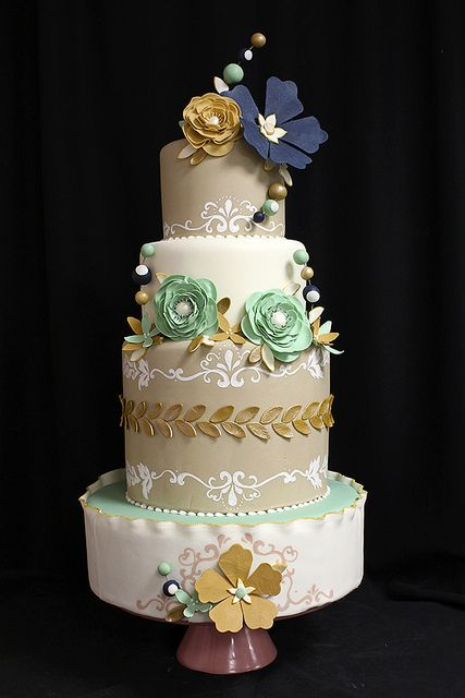navy wedding cake flowers navy teal gold flowers wedding cake wedding cake 17789