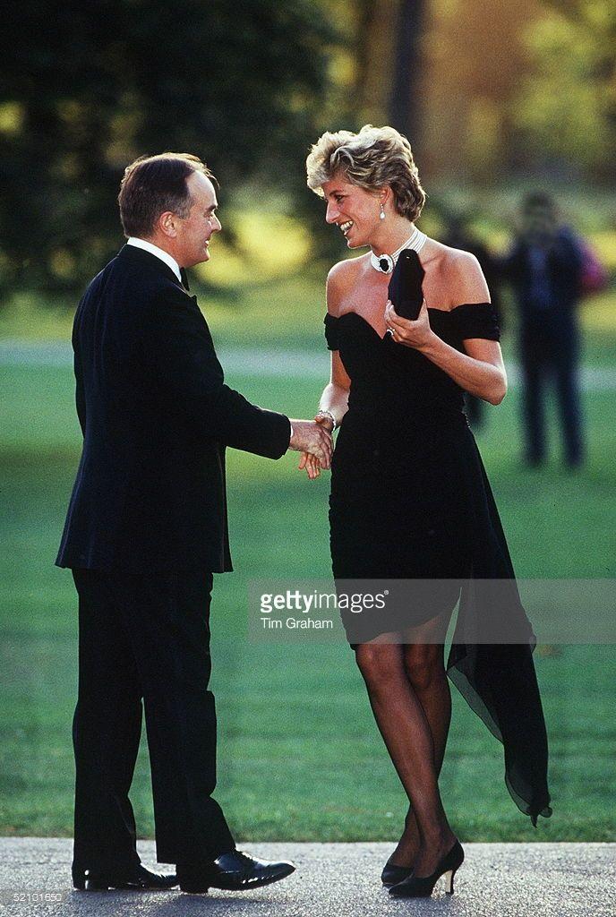 Princess Diana Wearing A Short Black Dress Designed By
