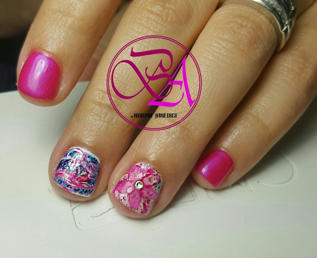 Cnd Shellac Spring Nails Flower Power Nails Designpink Nails