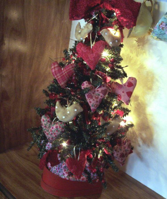 primitive valentines day decorations primitive valentines day tree with hearts love birds and twinkle - Primitive Valentine Decor