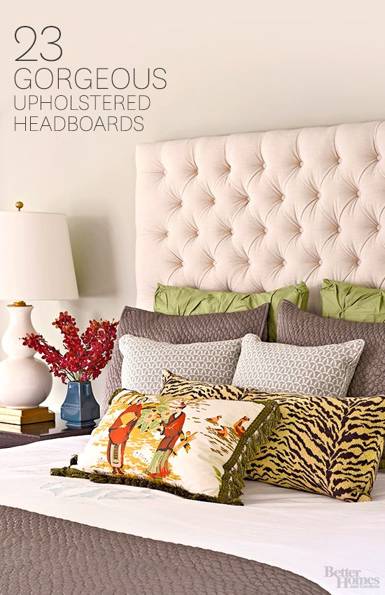 Update your bedroom with a new upholstered headboard! More headboard ideas: http://www.bhg.com/rooms/bedroom/headboard/stylish-upholstered-headboards/?socsrc=bhgpin112813headboards