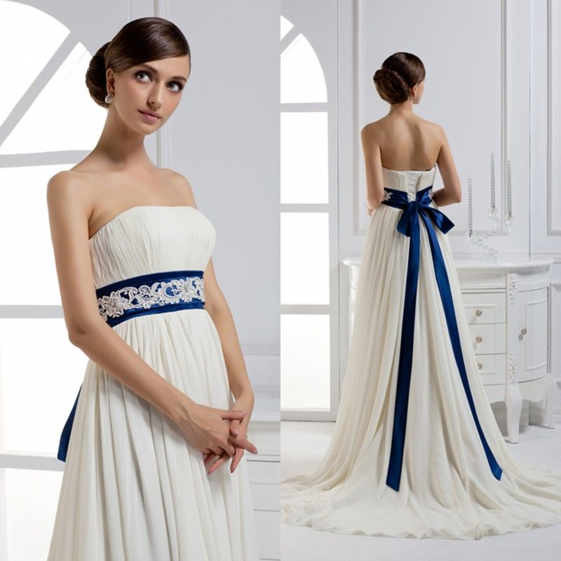 abito da sposa bianco e blu - Cerca con Google  5ba91eb1eac