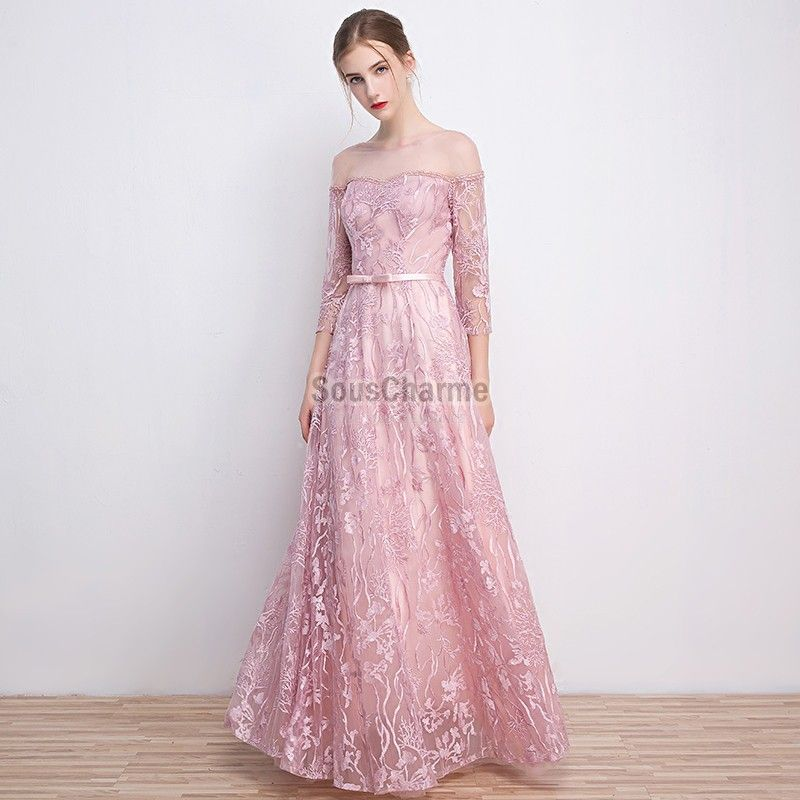 robe femme rose longue pour soirée en dentelle avec manche col plat dégagé