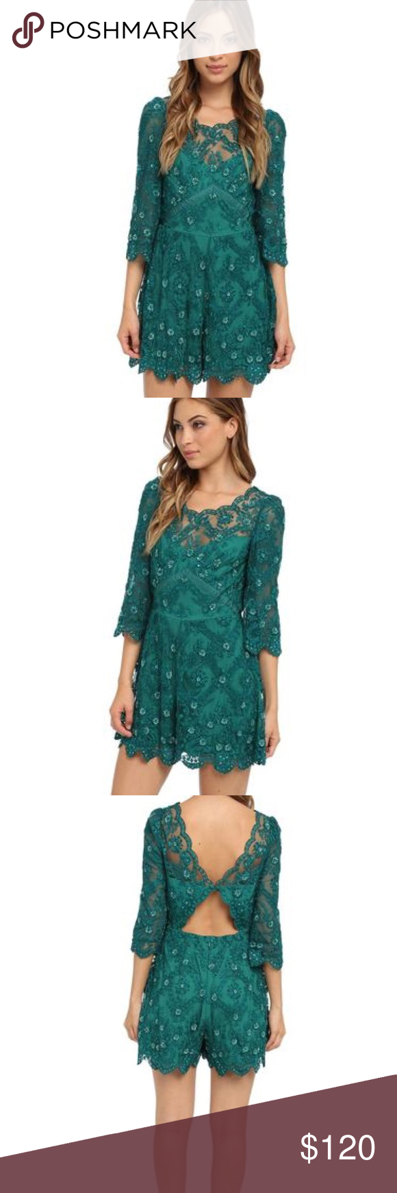 5b535bf07fea 💚Free People Songbird Emerald Green Sequin Romper Free People Green Songbird  Emerald Sequin Embellished Lace