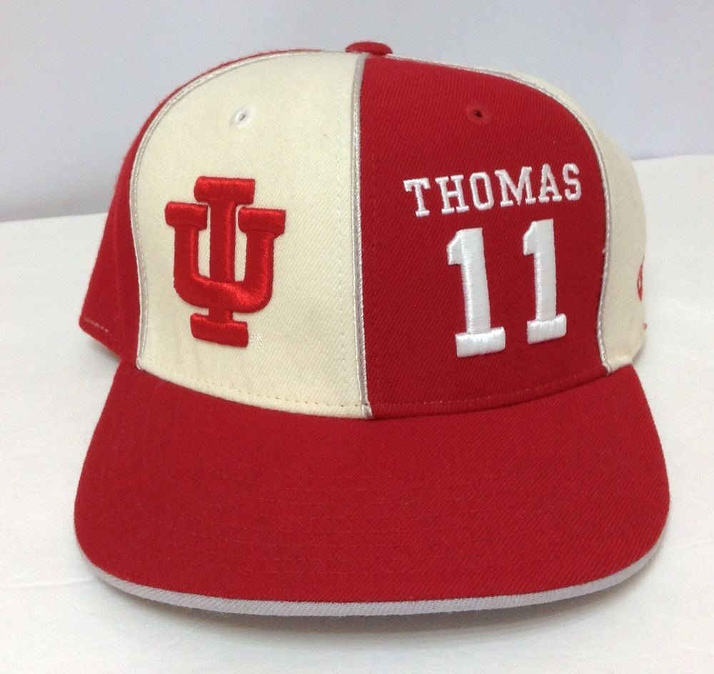 a91f61327e9 ISAIAH THOMAS  11 INDIANA HOOSIERS HAT Red Beige IU Vtg-Look WOOL FITTED  7-3 8  Seephotos  IndianaHoosiers