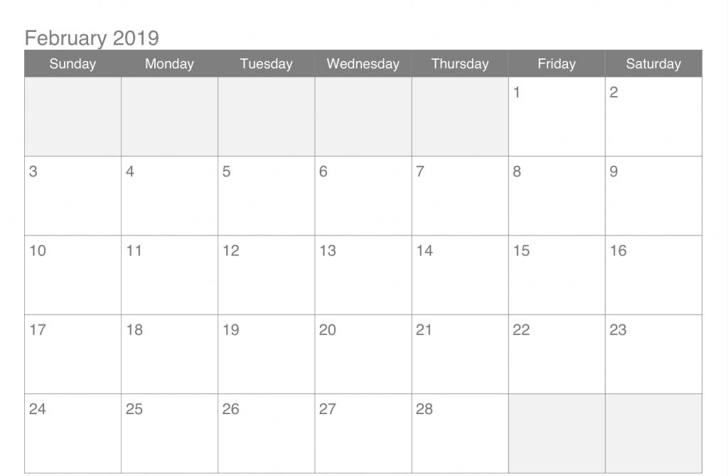 Calendario 2020 Excel Mensual.Calendar For February 2019 Excel To Print Calendars