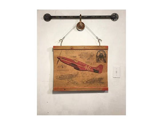 Wood signs wooden signs industrial pipe rustic wall decor wood signs wooden signs industrial pipe rustic wall decor airplane blueprint art printwall hanging red malvernweather Images