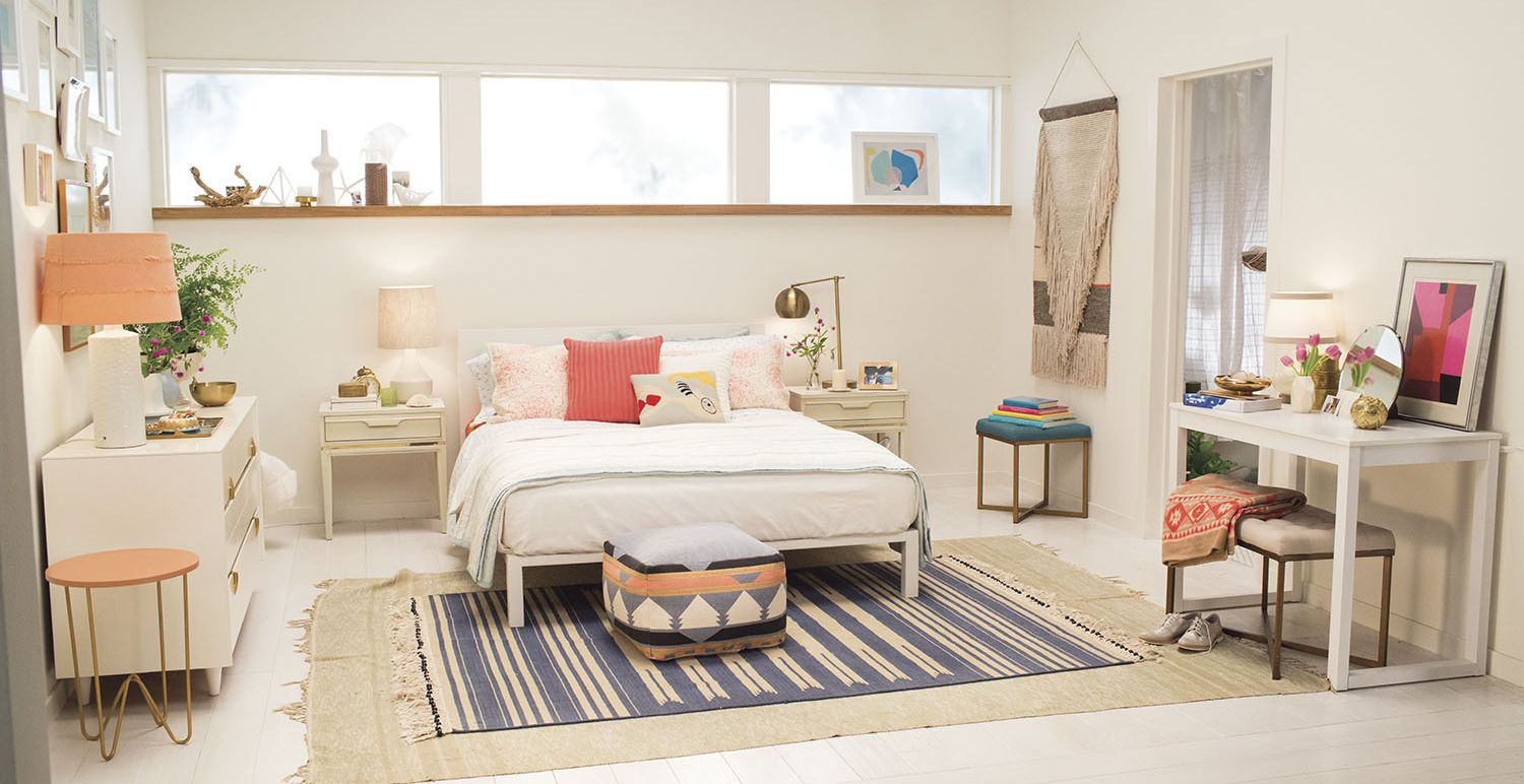 Perfect Target Emily Henderson_bedroom_white Blue Orange Casual Calm Bedroom