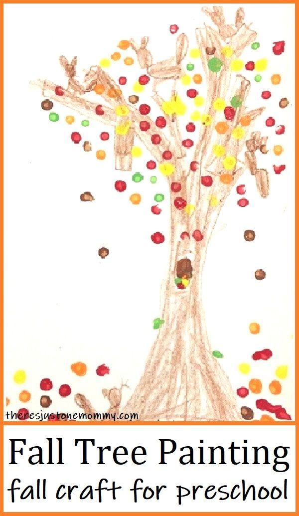 Preschool Fall Tree Painting Craft #falltrees