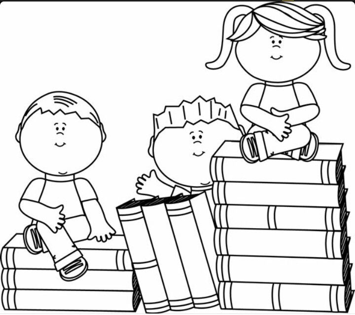 Reading Kids Book Clip Art Coloring Books Cartoon Coloring Pages