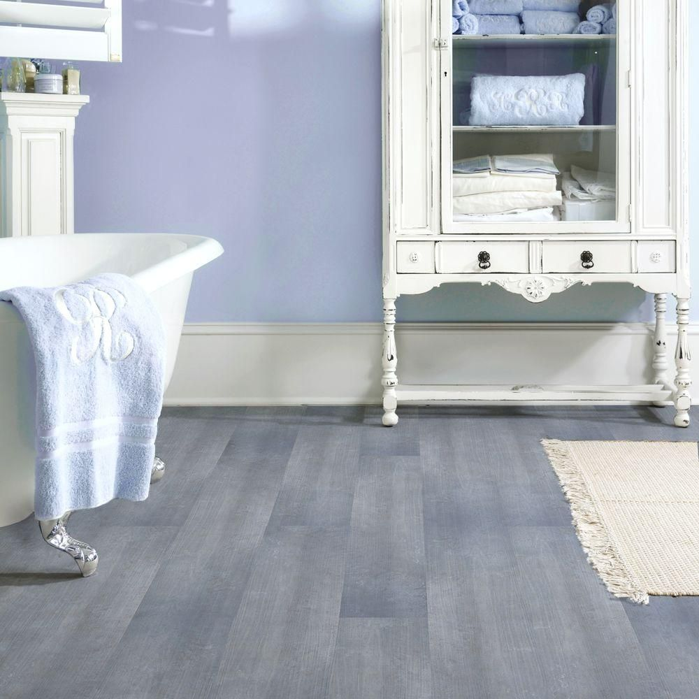 Trafficmaster allure 6 in x 36 in blue slate resilient for Tile linoleum bathroom