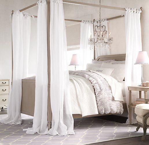 Sheer Belgian Linen Bed Canopy Panels Set Of 2 | Drapery | Restoration  Hardware Baby U0026
