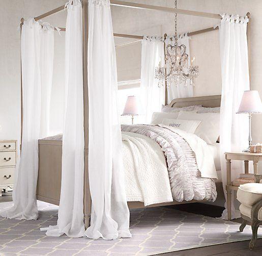 Sheer Belgian Linen Bed Canopy Panels Set Of 2 Girl Bedroom
