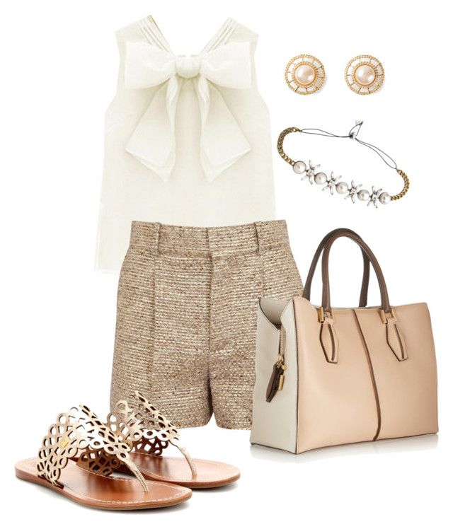 """Gold Lady"" by mayumi17 ❤ liked on Polyvore featuring Chloé, Tod's, Tory Burch, Chanel and Lelet NY"