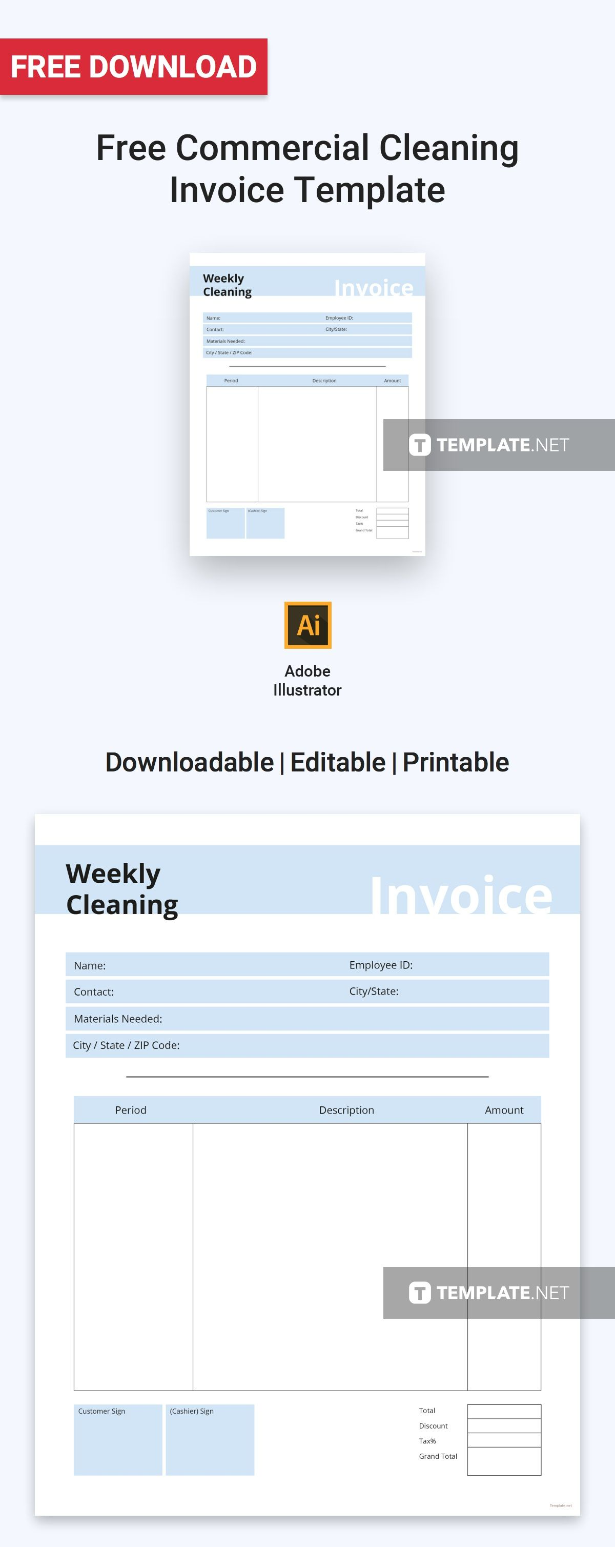 Free Download Invoice Template Free Commercial Cleaning Invoice  Commercial Template And Free