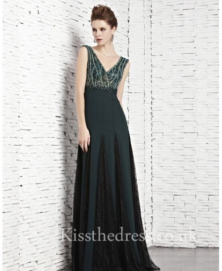 Green Chiffon V-neck Backless Long Prom Dress With Beading ...