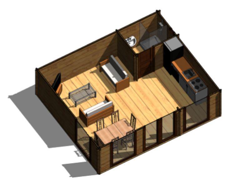 Plano 1 casa de madera heidi arquitectura pinterest casas de madera casa de madera y madera - Casa de madera prefabricada ...