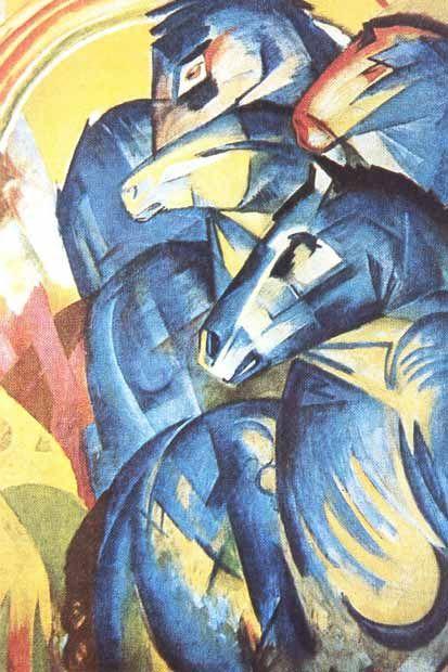 Der Blaue Reiter Turm Der Blauen Pferde Acrylmalerei Tiere Blauer Reiter