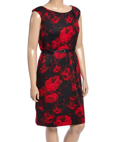 This Red & Black Floral Belted Sheath Dress - Plus by Jemma Apparel is perfect! #zulilyfinds