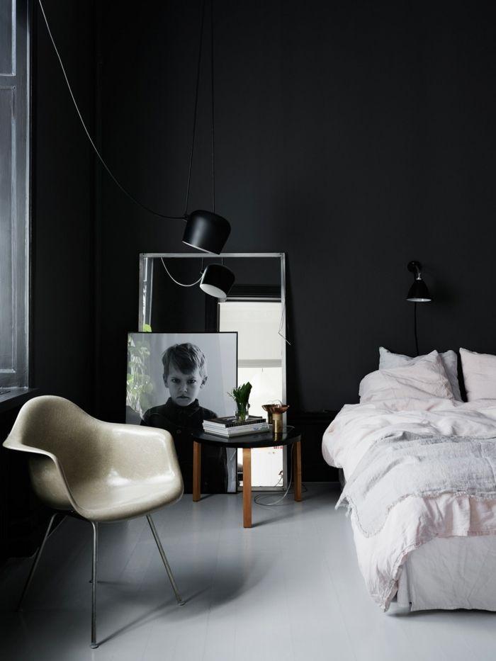 schlafzimmer schwarz schwarze wand heller boden spiegel - schlafzimmer schwarz