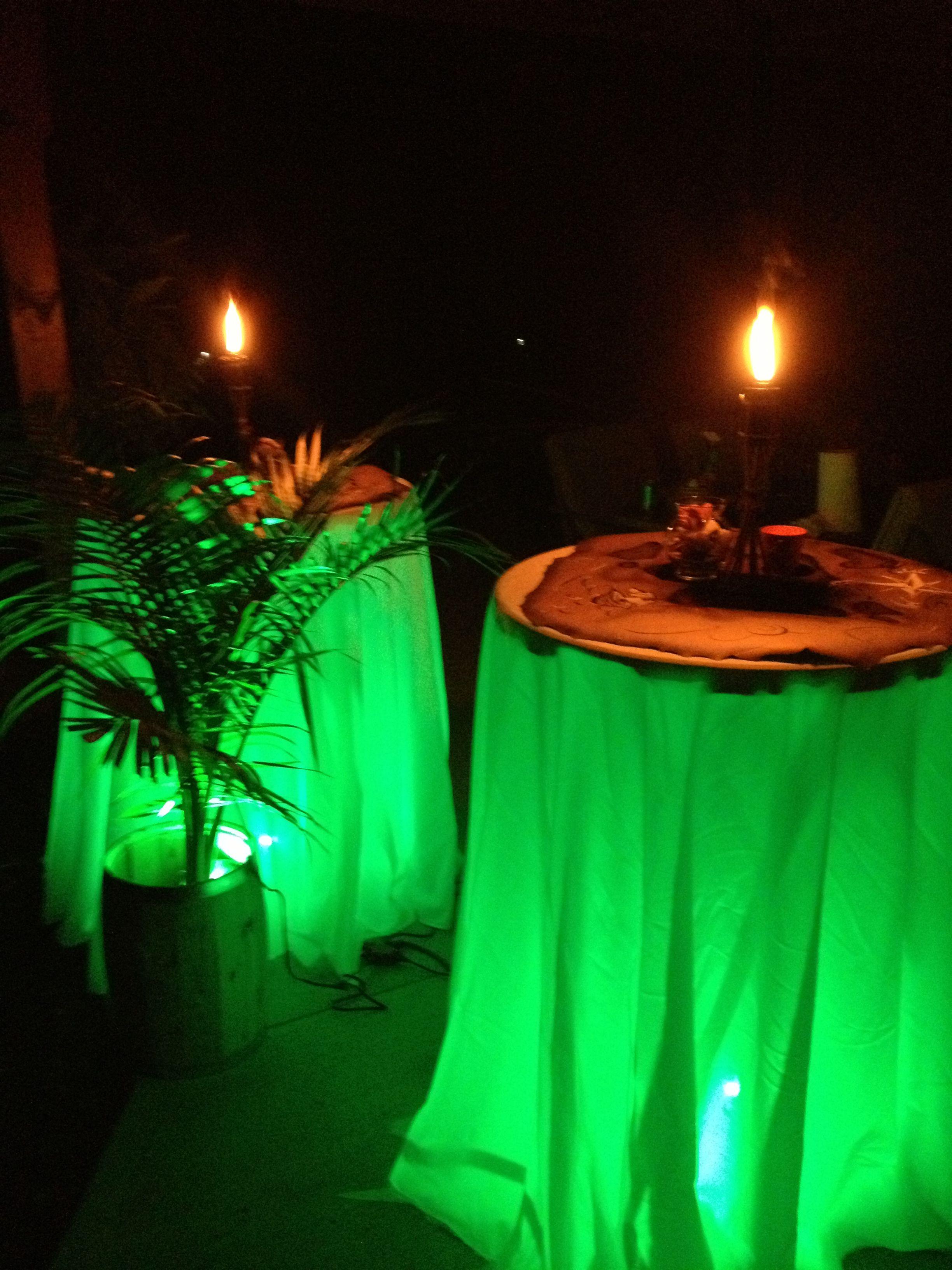 Underlit Tables For A Luau Party Luau Tableideas Weddingtables