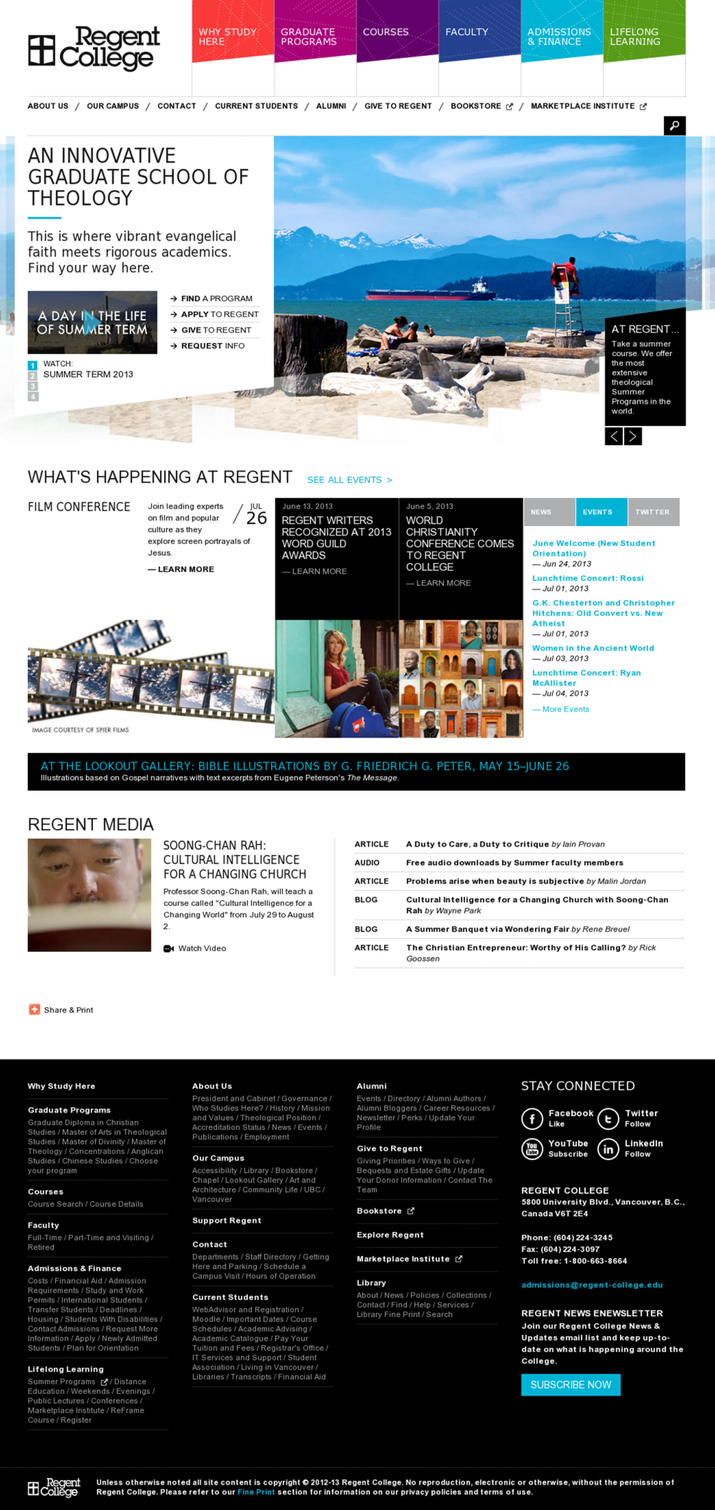 Http Www Regent College Edu I Notice That They Eschew Opening Menus At Small Resolutions Web Design Web Design Inspiration Graduate School