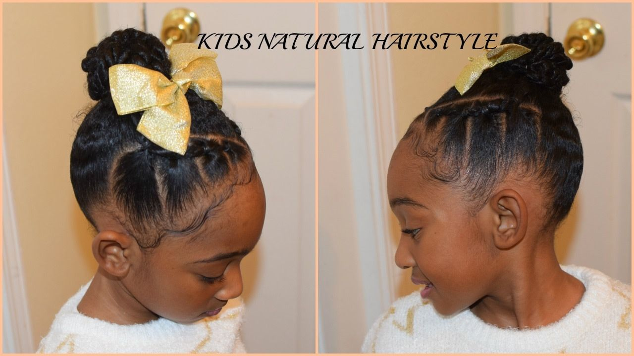 Kids Natural Hairstyles Rubberband Plaits And Bun Youtube
