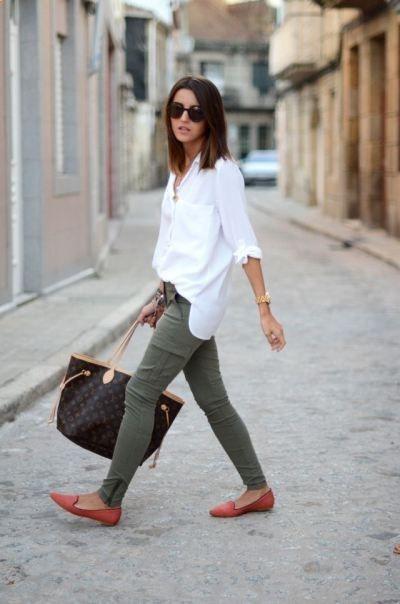 zapatos pantalón blanca rojos Camisa verde RY8pwq