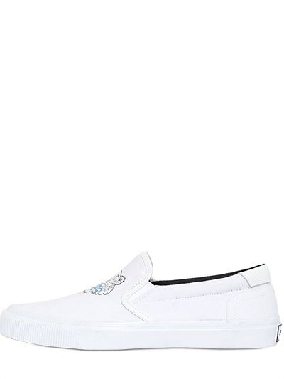 KENZO - TIGER COTTON CANVAS SLIP-ON SNEAKERS - LUISAVIAROMA - LUXURY SHOPPING WORLDWIDE SHIPPING - FLORENCE