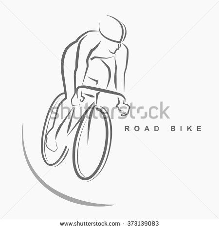 Front View Of Racing Bicycle Hand Draw Logo On Gray Background