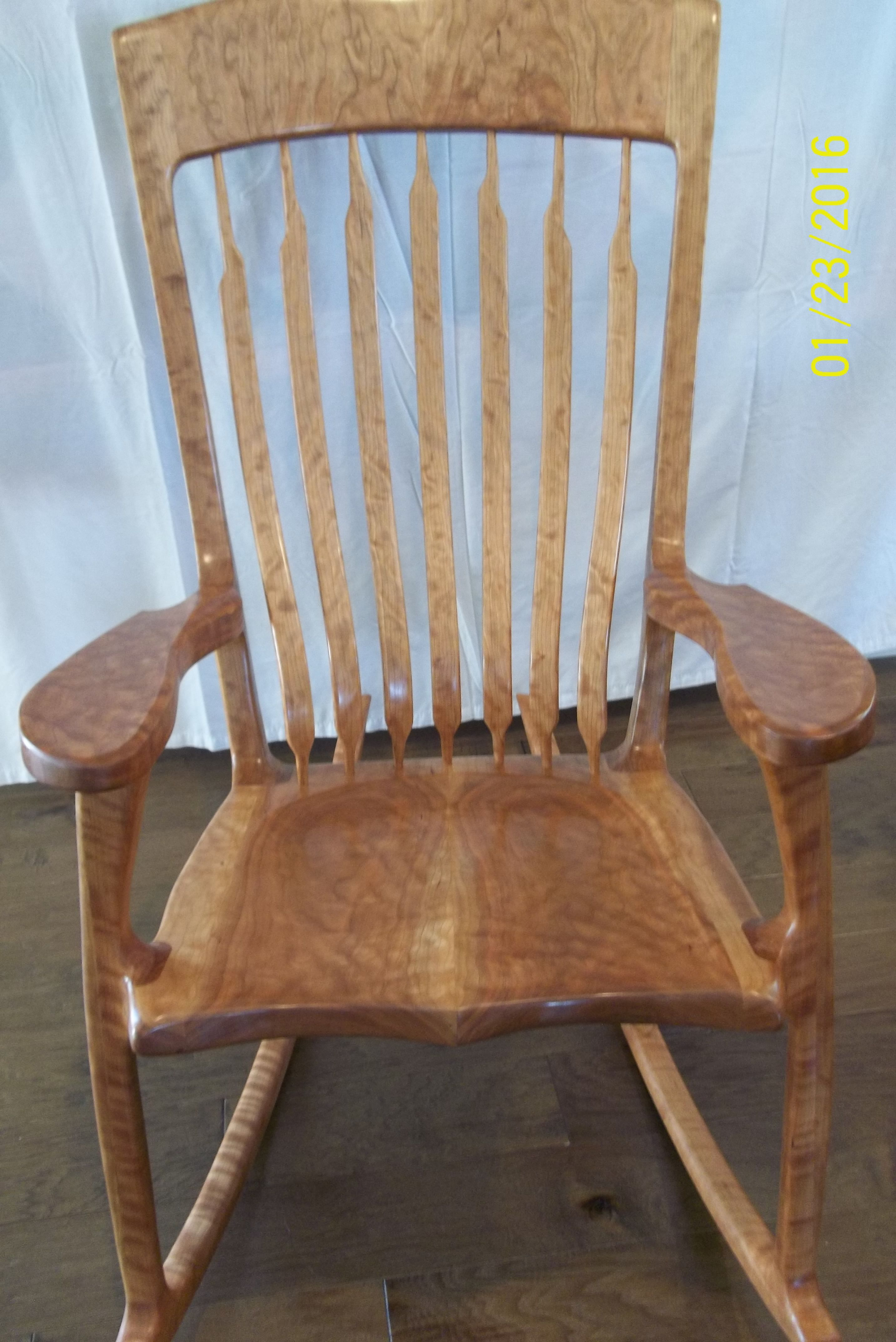 rocking chair fine woodworking shabby chic cushions hand crafter figured cherry made by kim l slater
