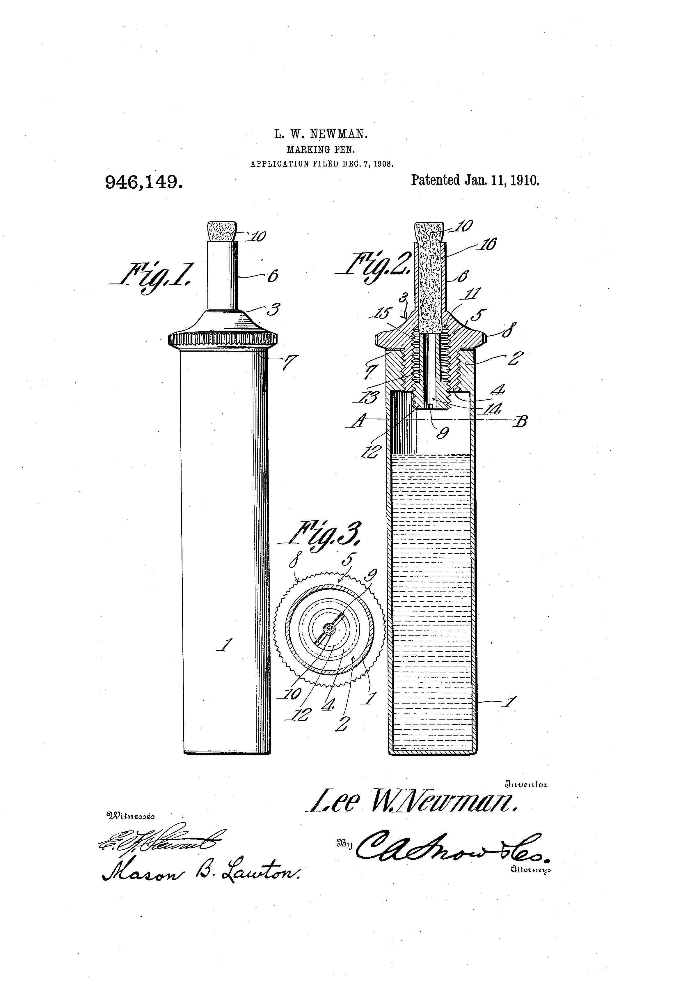 Patent US946149 Markingpen. Google Patents Pen