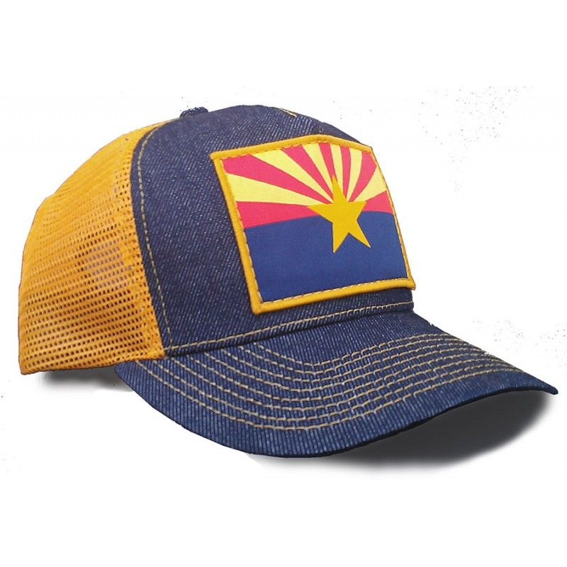 47cb5a4be85bd Arizona Flag Made In USA Denim Trucker Hat