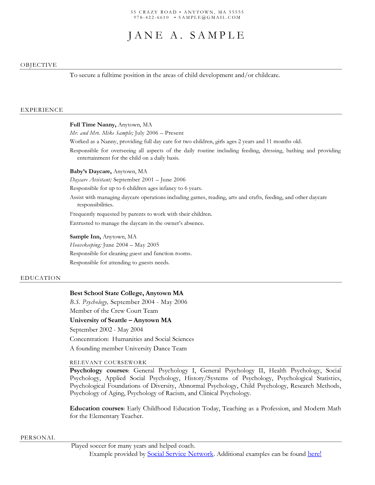 Social Work Resume Sample Child Care Resume Cover Letter  Httpwwwresumecareer