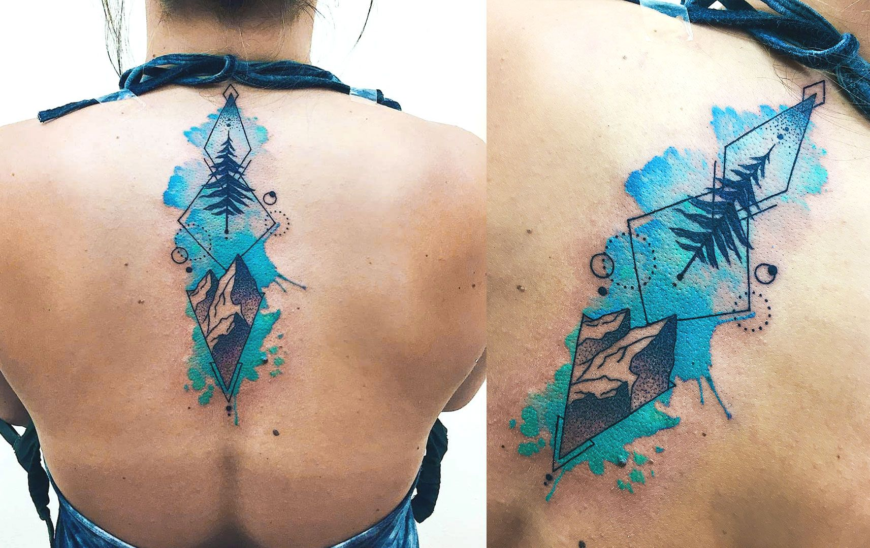 Geometric Watercolor Upper Back Spine Tattoo With Mountains And