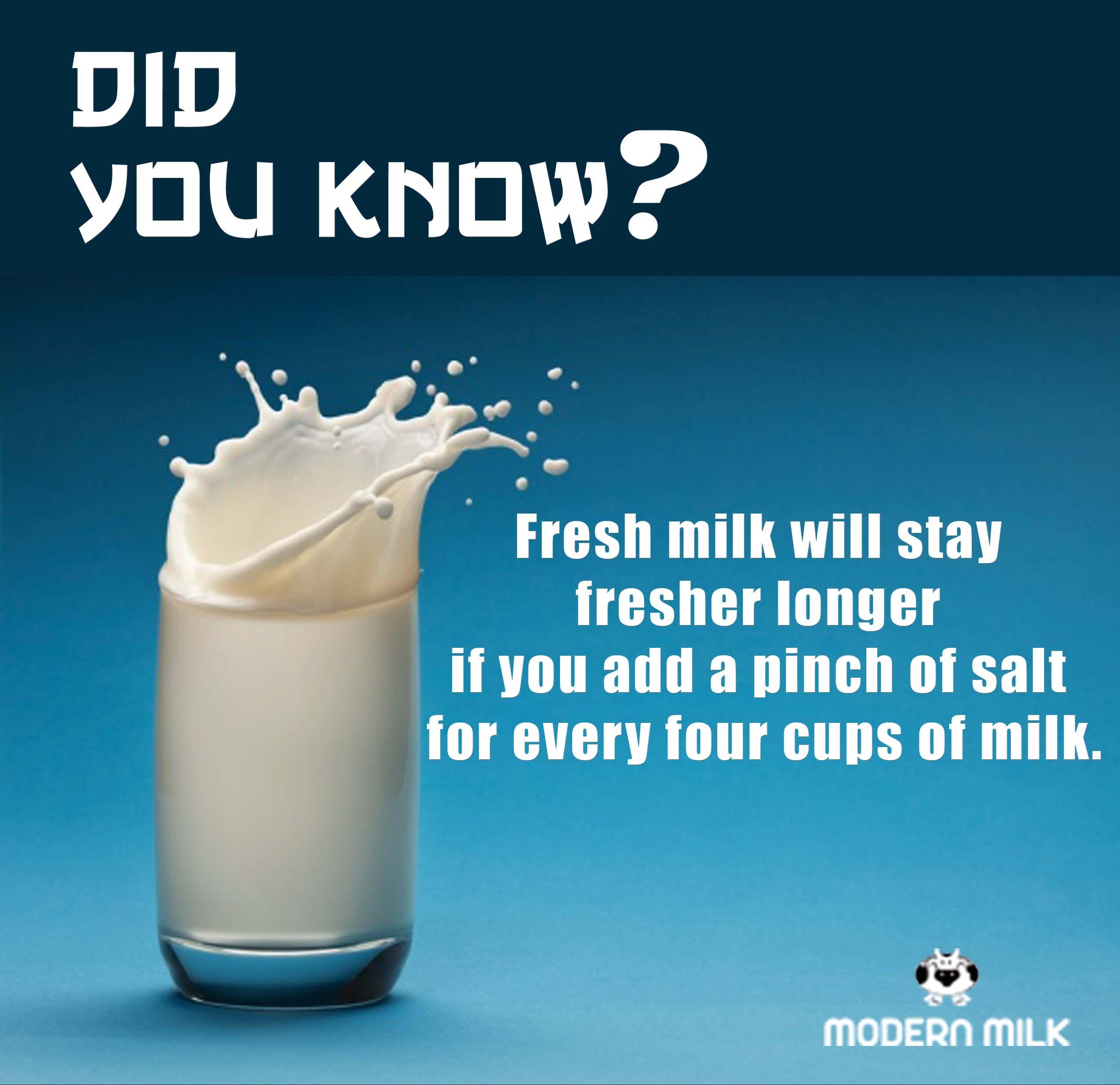 Keep your glass of milk fresher, for longer. Fresh milk