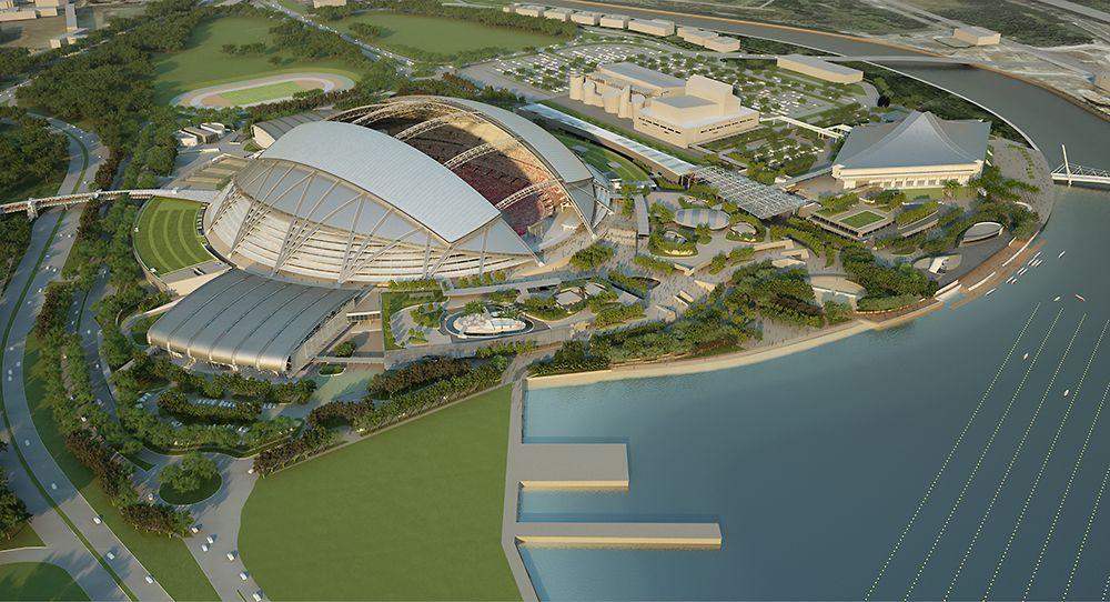 シンガポール・スポーツハブの完成予想図(資料:ARUP SINGAPORE) National stadium