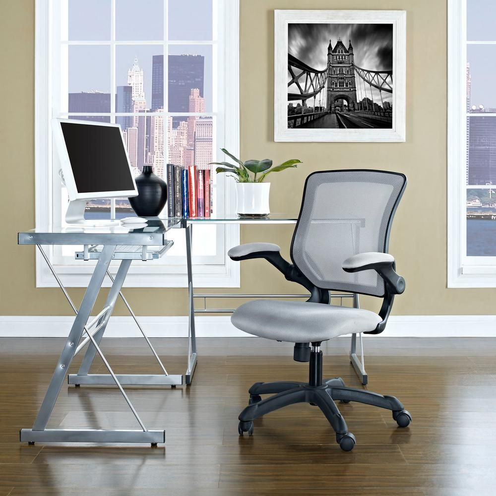Modway Veer Mesh Office Chair In Gray Eei 825 Gry The Home Depot