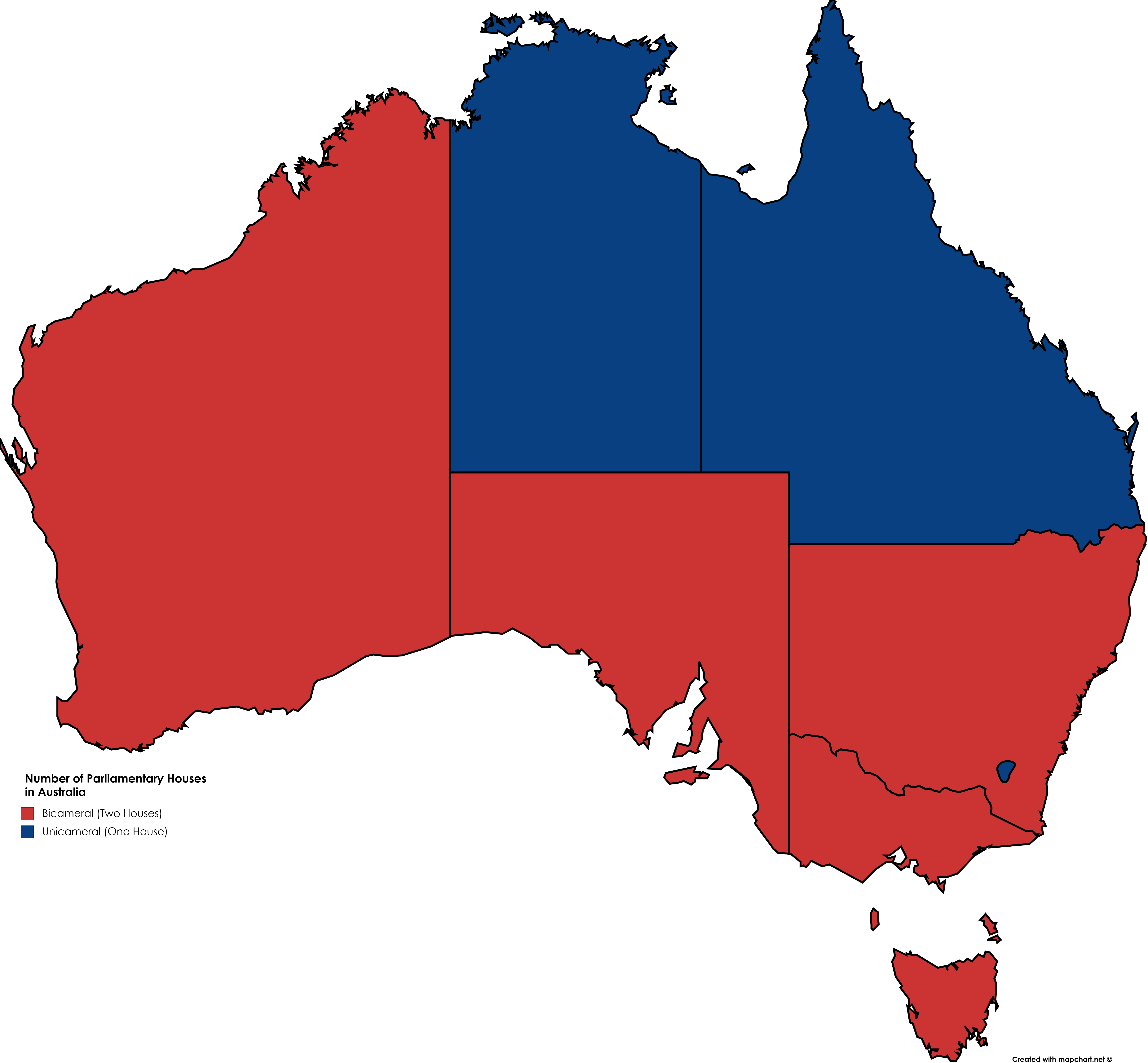 Australia Map States And Territories.Number Of Parliamentary Houses In Australian States Territories