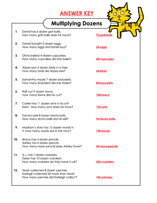 Multiplying Dozens Word Problems