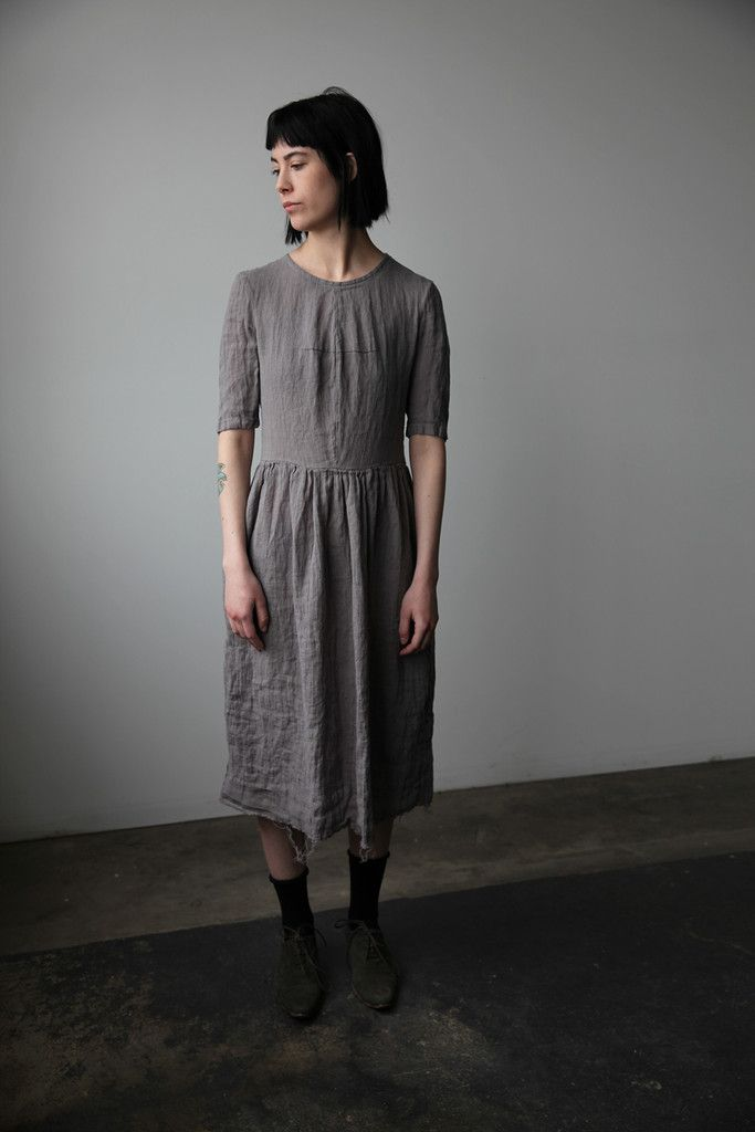 Mathilde Short Sleeve Linen Dress - Grey | Ovate | ovate | Pinterest ...