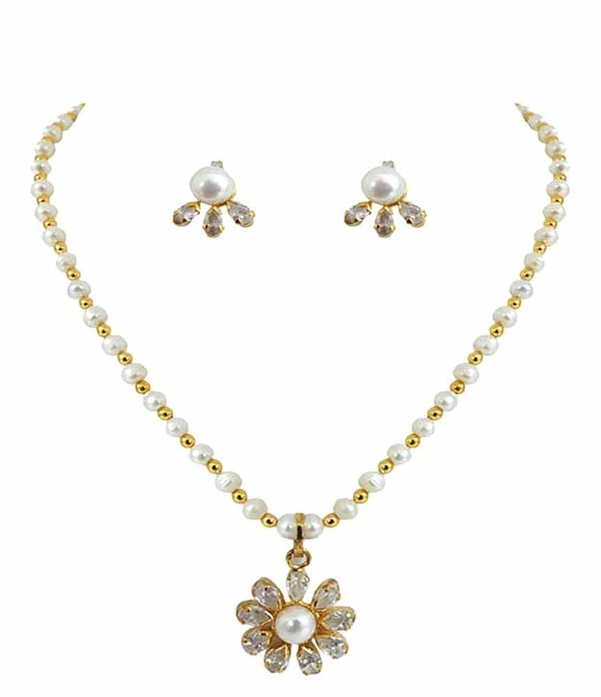 Goldencollections pearl stone drop pendant set pendantset