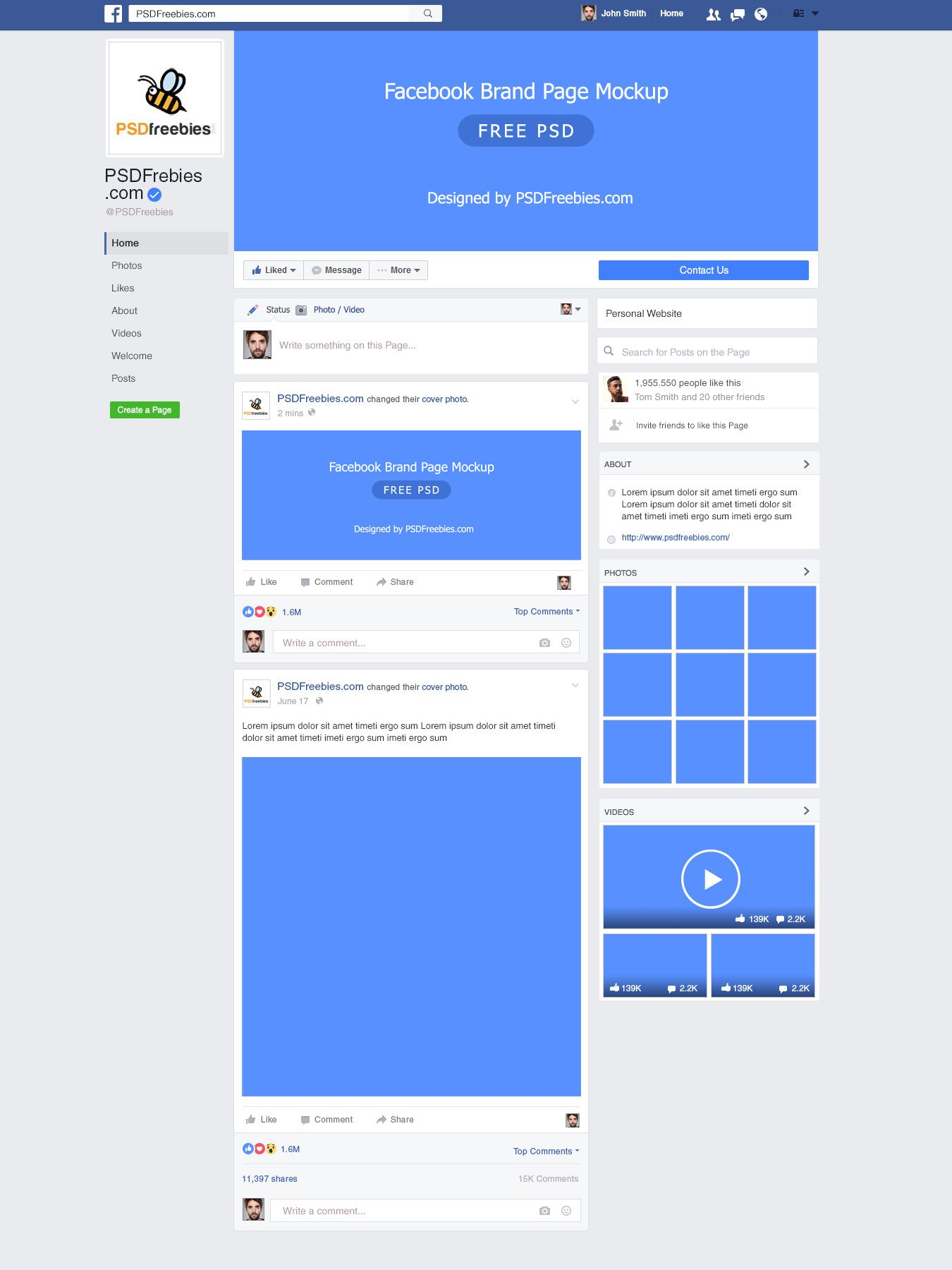 This New Facebook Brand Page 2016 Mockup Psd Is Designed To Make It