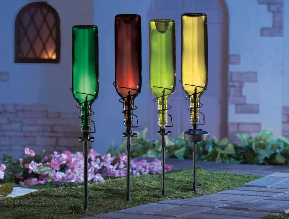 SET Of 4 SOLAR WINE BOTTLE HOLDER STAKES GARDEN LIGHT OUTDOOR PATIO YARD ART