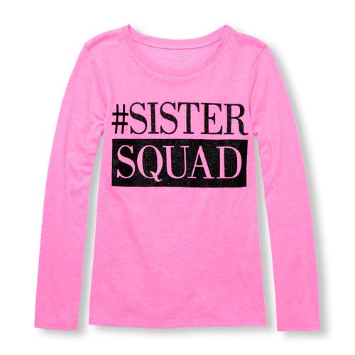 02e39cf61 s Long Sleeve Glitter 'Sister Squad' Neon Graphic Tee - Pink T-Shirt - The  Children's Place